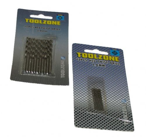 Toolzone 10pc 1mm HSS Twist Drill Set